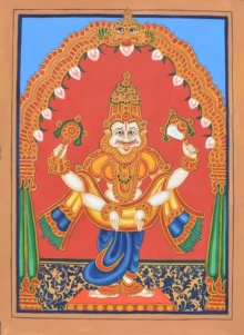Radhika Ulluru | Mysore Traditional art title Narasimha Avatara on Paper | Artist Radhika Ulluru Gallery | ArtZolo.com