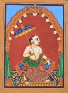 Traditional Indian art title Vamana Avatara on Paper - Mysore Paintings