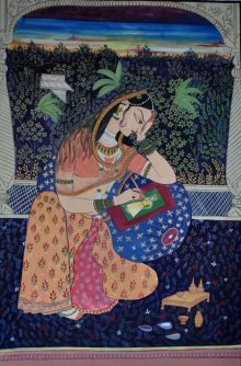 "Figurative Mixed-media Art Painting title '""queen painting a picture of her lover' by artist Radhika Ulluru"