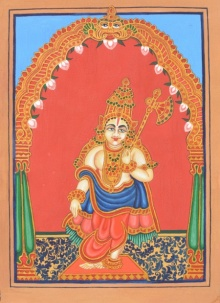 Radhika Ulluru | Mysore Traditional art title Parashurama Avatara on Paper | Artist Radhika Ulluru Gallery | ArtZolo.com
