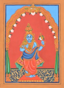 Traditional Indian art title Krishna Avatara on Paper - Mysore Paintings