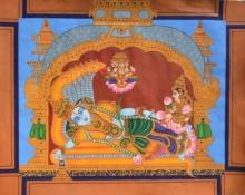 Religious Mixed-media Art Painting title Sheshashayana1 by artist Radhika Ulluru