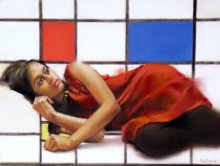 Figurative Dry-pastel Art Painting title 'Envoleped By Mondrian Pastel' by artist Mukta Avachat