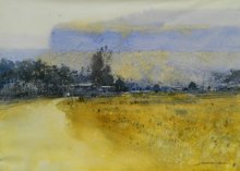 Landscape Watercolor Art Painting title 'Afternoon' by artist NanaSaheb Yeole