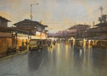Cityscape Watercolor Art Painting title 'Badlapur Night1' by artist NanaSaheb Yeole