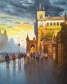 Cityscape Watercolor Art Painting title 'Cst Mumbai' by artist NanaSaheb Yeole