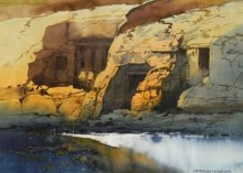 Landscape Watercolor Art Painting title 'Ellora Cave' by artist NanaSaheb Yeole