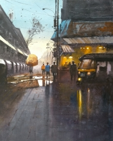 Cityscape Watercolor Art Painting title 'Evening' by artist NanaSaheb Yeole