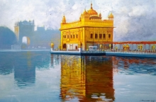 Cityscape Acrylic Art Painting title 'Golden Temple' by artist NanaSaheb Yeole