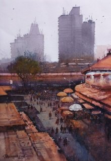 Cityscape Watercolor Art Painting title 'Laminton Road Top' by artist NanaSaheb Yeole
