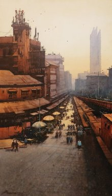 Cityscape Watercolor Art Painting title 'Laminton Road' by artist NanaSaheb Yeole
