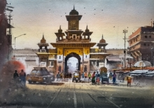 Cityscape Watercolor Art Painting title 'Morbi' by artist NanaSaheb Yeole