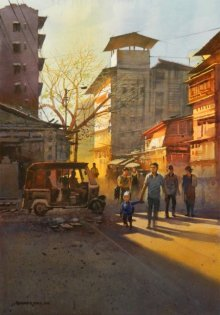 Cityscape Watercolor Art Painting title 'Morning Light' by artist NanaSaheb Yeole