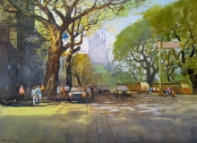 Cityscape Watercolor Art Painting title 'Mumbai' by artist NanaSaheb Yeole