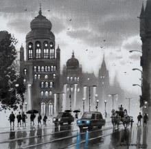 Cityscape Acrylic Art Painting title Mumbai Series 10 by artist NanaSaheb Yeole