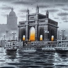 Cityscape Acrylic Art Painting title 'Mumbai Series 12' by artist NanaSaheb Yeole