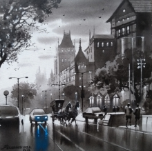 Cityscape Acrylic Art Painting title Mumbai Series 3 by artist NanaSaheb Yeole