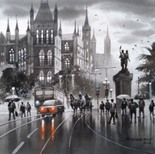 Cityscape Acrylic Art Painting title Mumbai Series 4 by artist NanaSaheb Yeole