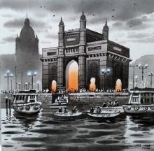 Cityscape Acrylic Art Painting title Mumbai Series 5 by artist NanaSaheb Yeole