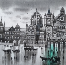 Cityscape Acrylic Art Painting title 'Mumbai Series 9' by artist NanaSaheb Yeole