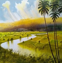 Landscape Acrylic Art Painting title River by artist NanaSaheb Yeole
