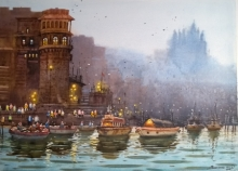 Cityscape Watercolor Art Painting title 'Varanasi Ghat' by artist NanaSaheb Yeole