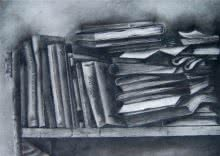 Charcoal Paintings | Drawing title 3 Books On Rack on Paper | Artist RAMA REDDY