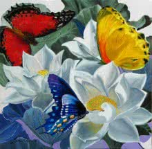 Nature Oil Art Painting title 'Flower With Butterfly 1' by artist Sulakshana Dharmadhikari
