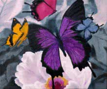 Nature Oil Art Painting title 'Flower With Butterfly' by artist Sulakshana Dharmadhikari