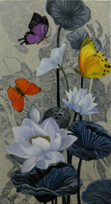 Sulakshana Dharmadhikari | Oil Painting title Flower With Butterfly 8 26x48 on oil on canvas | Artist Sulakshana Dharmadhikari Gallery | ArtZolo.com