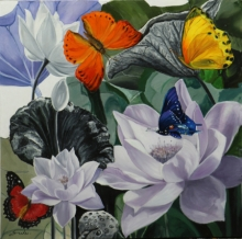 Sulakshana Dharmadhikari | Oil Painting title Flower With Butterfly 9 36x36 on oil on canvas | Artist Sulakshana Dharmadhikari Gallery | ArtZolo.com
