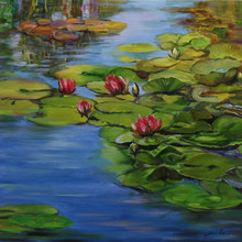 Landscape Oil Art Painting title Lily Pond 13-30x30 by artist Sulakshana Dharmadhikari
