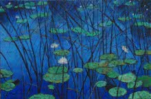Water - lily 3 - 36x24 | Painting by artist Sulakshana Dharmadhikari | oil | Canvas