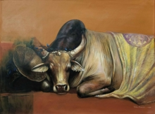 Animals Acrylic Art Painting title Emotional Attachment 2 by artist Jiban Biswas