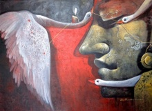 Figurative Acrylic Art Painting title 'Emotion' by artist Jiban Biswas