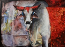 Cow 5 | Painting by artist Jiban Biswas | acrylic | Canvas
