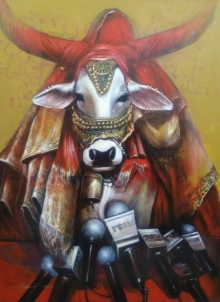 Animals Acrylic Art Painting title Important Meeting by artist Jiban Biswas