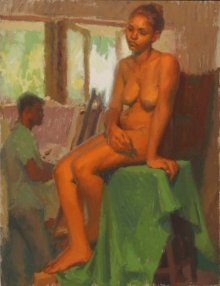 Figurative Oil Art Painting title 'Figure Study' by artist Snehal Page