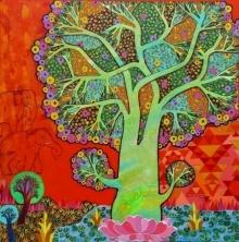 Nature Mixed-media Art Painting title 'Gaja Lakshmi' by artist Chandra Morkonda