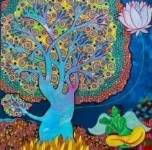 Religious Mixed-media Art Painting title 'Maha Vishnu' by artist Chandra Morkonda