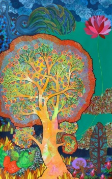 art, beauty, painting, mix-media, canvas, religious, god, lord vishnu