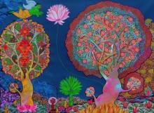 Nature Acrylic Art Painting title 'Untitled 1' by artist Chandra Morkonda