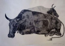 Animals Ink Art Drawing title 'Resting Cow' by artist Kamalesh Salaskar