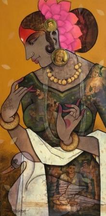 Figurative Acrylic Art Painting title Beautiful Lady 1 by artist Sachin Kharat