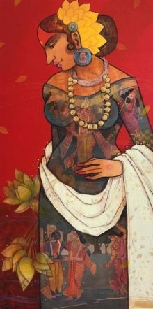 Figurative Acrylic Art Painting title 'Beauty 1' by artist Sachin Kharat