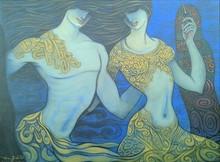 Figurative Acrylic Art Painting title Beauty by artist Ramesh Gujar