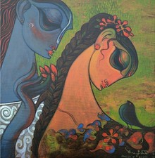Figurative Acrylic Art Painting title 'Couple 5' by artist Ramesh Gujar