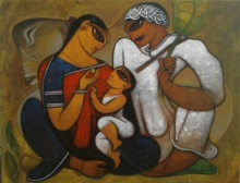 Figurative Acrylic Art Painting title 'Family 4' by artist Ramesh Gujar