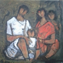 Figurative Acrylic Art Painting title 'Family 1' by artist Ramesh Gujar