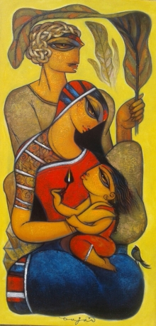 Figurative Acrylic Art Painting title 'Family 2' by artist Ramesh Gujar